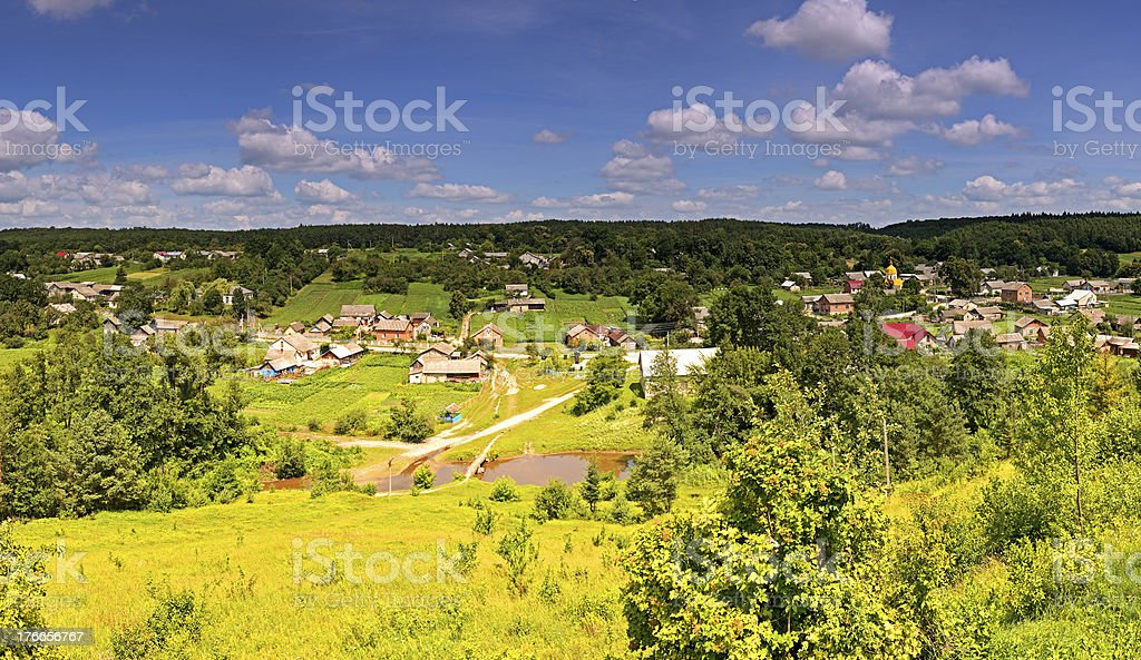Panorama of the countryside in summer royalty-free stock photo