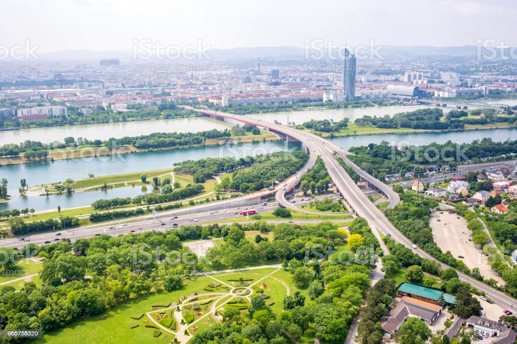 Panorama of the Danube river in Vienna, Austria - Royalty-free Aerial View Stock Photo