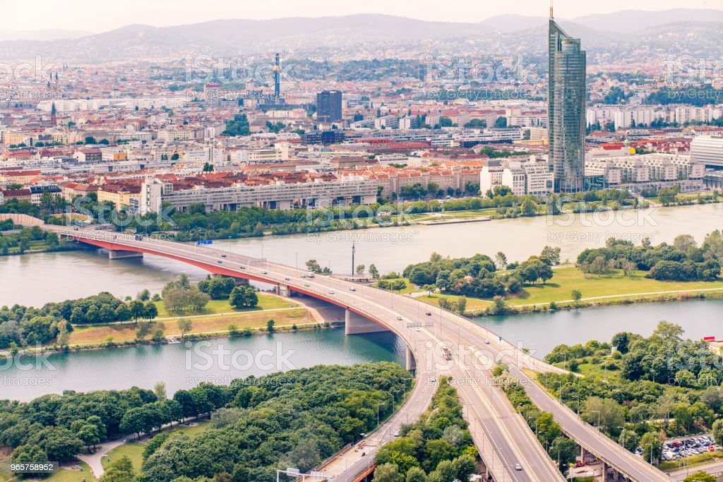 Panorama of the Danube river in Vienna, Austria - Royalty-free Ao Ar Livre Foto de stock