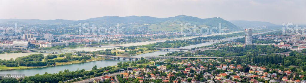 Panorama of the Danube river in Vienna, Austria Panorama of the Danube or Donau river in Vienna, Austria Aerial View Stock Photo