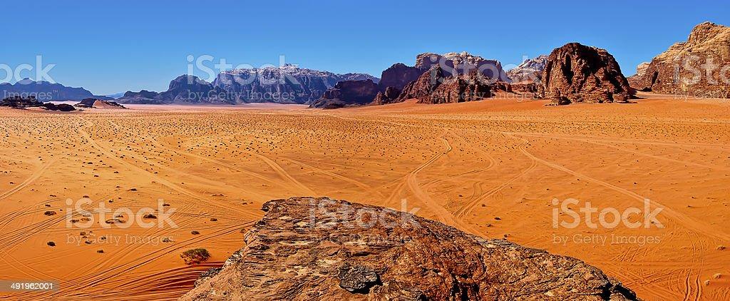 Panorama of the desert of Wadi Rum, Jordan. stock photo