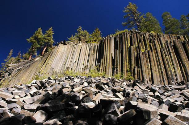 Panorama of  the Devils Postpile near Mammoth, California stock photo