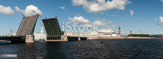 Panorama of the drawn Palace Bridge in the city of St. Petersburg in the summer clear afternoon.