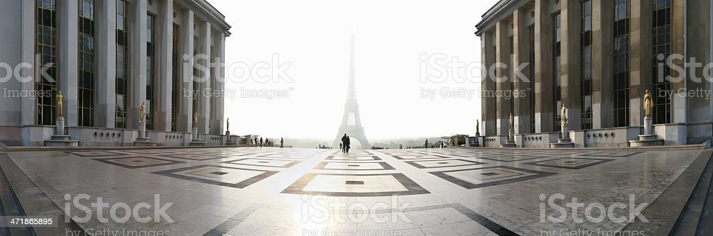 Panorama of the Eiffel Tower at sunrise stock photo