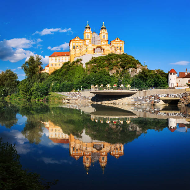Panorama of the famous St. Peter and Paul Church in Melk Benedictine Abbey, Wachau Valley, Lower Austria Panorama of the Melk Abbey, Austria abbey monastery stock pictures, royalty-free photos & images