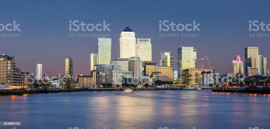 Panorama of the financial district Canary Wharf in London stock photo