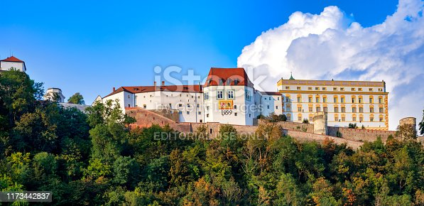 Passau, Germany, 09/05/2018: Panorama of the Fortress in Passau, Germany. The fortress was built in 1219 by Ulrich II, the first prince-bishop of Passau, at the location of a previously existing chapel dedicated to St. George.