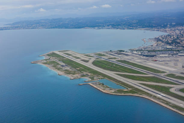 Panorama of the French Riviera and Nice airport stock photo