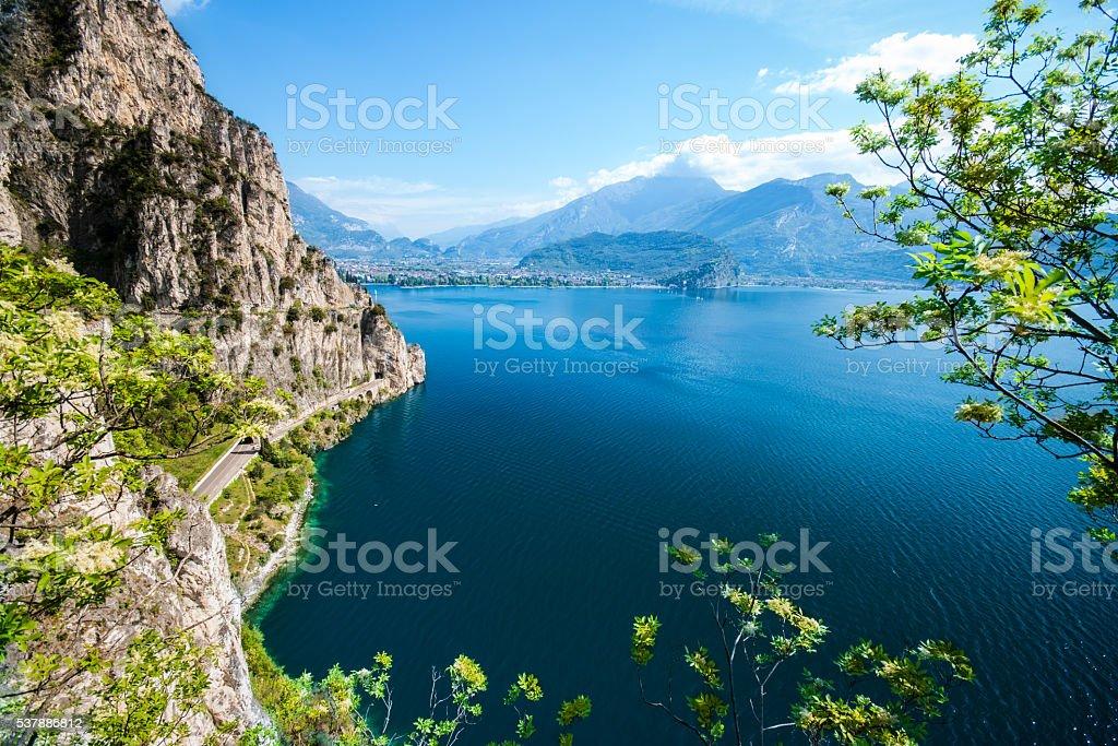 Panorama of the gorgeous Lake Garda. stock photo