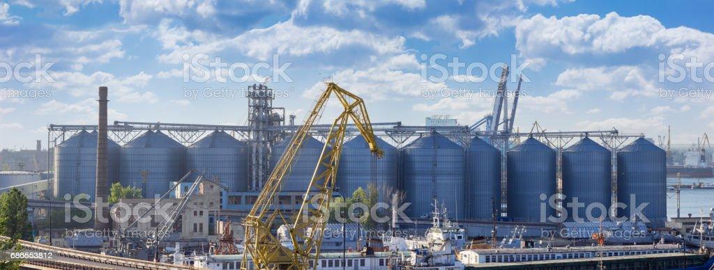 Panorama of the grain terminal in seaport foto stock royalty-free