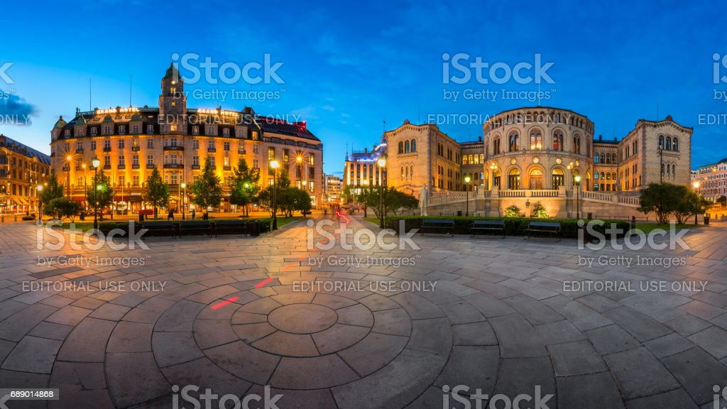 Panorama of the Grand Hotel and Parliament of Norway in the Evening, Oslo, Norway stock photo