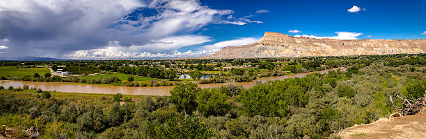 Panorama of the Grand Valley Colorado stock photo