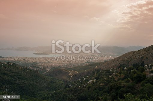 istock Panorama of the Greek city of Volos at sunset. Volos Greece. View from the mountain on the Volos 817514122