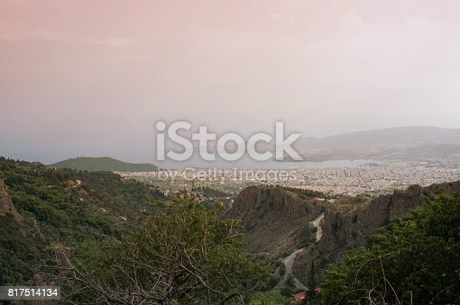 istock Panorama of the Greek city of Volos at sunset. Volos Greece. View from the mountain on the Volos 817514134