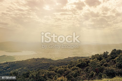 683524718 istock photo Panorama of the Greek city of Volos at sunset. Volos Greece. View from the mountain on the Volos 817514144