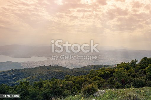 istock Panorama of the Greek city of Volos at sunset. Volos Greece. View from the mountain on the Volos 817514150