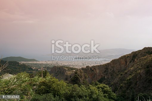 istock Panorama of the Greek city of Volos at sunset. Volos Greece. View from the mountain on the Volos 817514152