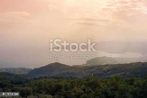 istock Panorama of the Greek city of Volos at sunset. Volos Greece. View from the mountain on the Volos 817514194