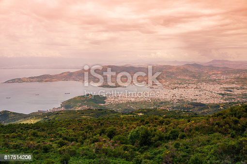 istock Panorama of the Greek city of Volos at sunset. Volos Greece. View from the mountain on the Volos 817514206