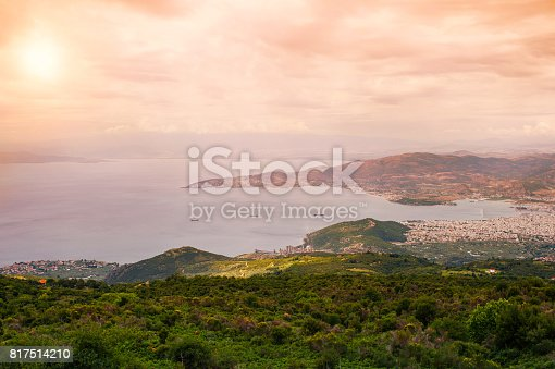 istock Panorama of the Greek city of Volos at sunset. Volos Greece. View from the mountain on the Volos 817514210