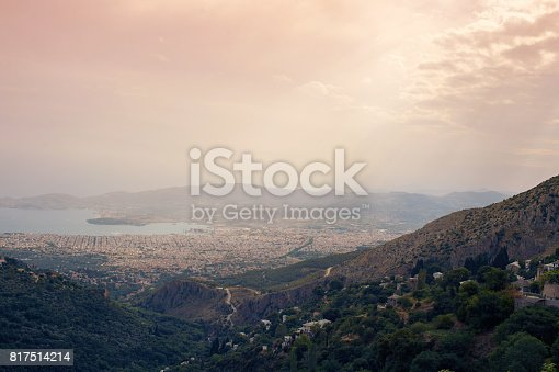 istock Panorama of the Greek city of Volos at sunset. Volos Greece. View from the mountain on the Volos 817514214