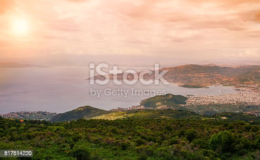 istock Panorama of the Greek city of Volos at sunset. Volos Greece. View from the mountain on the Volos 817514220
