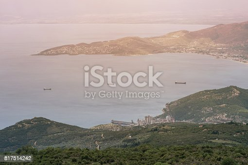 istock Panorama of the Greek city of Volos at sunset. Volos Greece. View from the mountain on the Volos 817514242