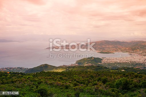 istock Panorama of the Greek city of Volos at sunset. Volos Greece. View from the mountain on the Volos 817514246