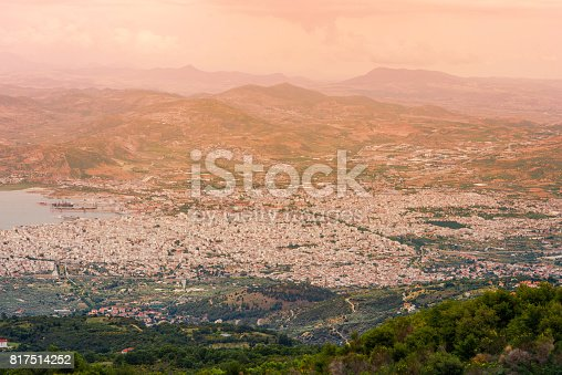 istock Panorama of the Greek city of Volos at sunset. Volos Greece. View from the mountain on the Volos 817514252
