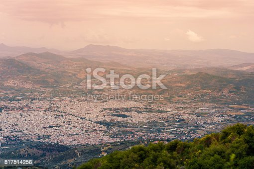 istock Panorama of the Greek city of Volos at sunset. Volos Greece. View from the mountain on the Volos 817514256