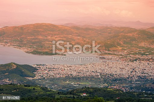 istock Panorama of the Greek city of Volos at sunset. Volos Greece. View from the mountain on the Volos 817514262