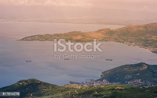 istock Panorama of the Greek city of Volos at sunset. Volos Greece. View from the mountain on the Volos 817514276