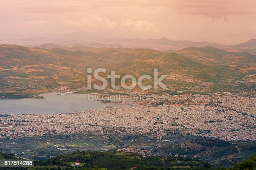 istock Panorama of the Greek city of Volos at sunset. Volos Greece. View from the mountain on the Volos 817514288