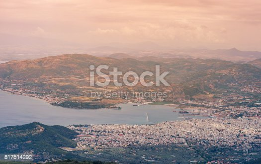 istock Panorama of the Greek city of Volos at sunset. Volos Greece. View from the mountain on the Volos 817514292