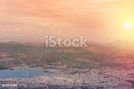 istock Panorama of the Greek city of Volos at sunset. Volos Greece. View from the mountain on the Volos 817514294