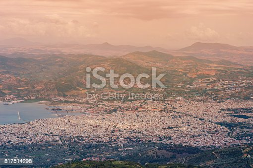 istock Panorama of the Greek city of Volos at sunset. Volos Greece. View from the mountain on the Volos 817514298