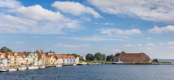 Panorama of the harbor and castle in Sonderborg Panorama of the harbor and castle in Sonderborg, Denmark sonderjylland stock pictures, royalty-free photos & images