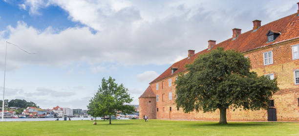Panorama of the historic castle in the old town of Sonderborg Panorama of the historic castle in the old town of Sonderborg, Denmark sonderjylland stock pictures, royalty-free photos & images