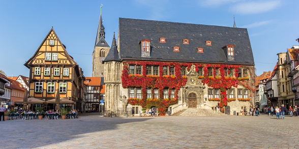 Panorama of the historic market square of Quedlinburg, Germany