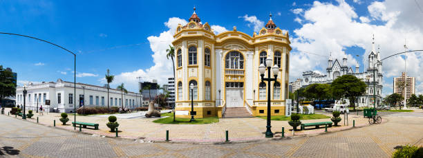 Panorama of the Historical Museum, the Casa de Cultura and the Matriz church in Itajai, Santa Catarina, Brazil. stock photo
