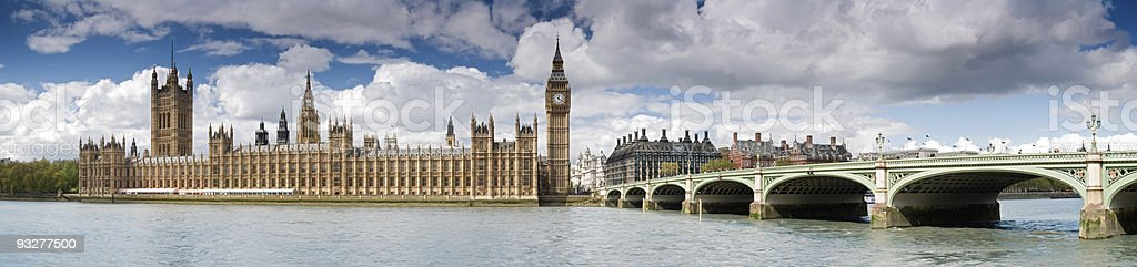 A panorama of the Houses of Parliament in London stock photo