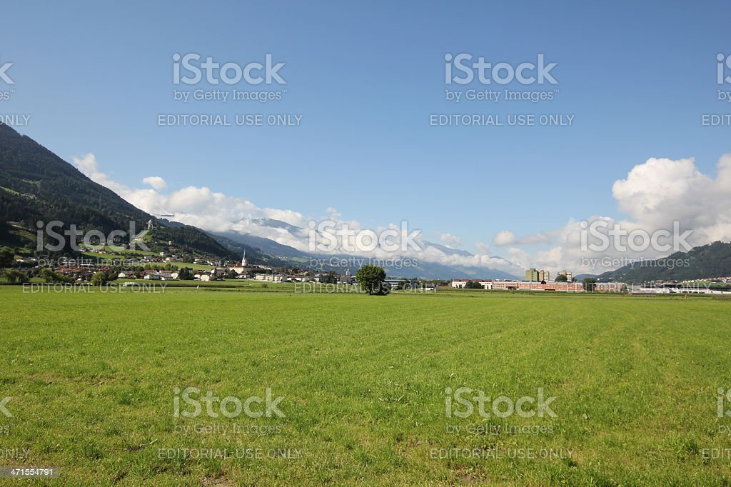 Panorama of the Inntal close to Schwaz, Tyrol, summer royalty-free stock photo