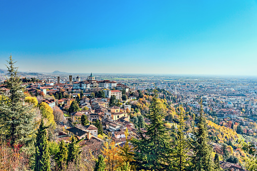 Panorama of the Italian city Bergamo. Top view.