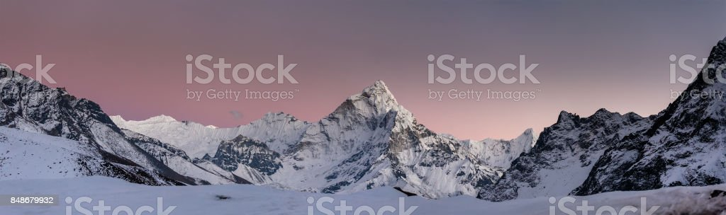 Panorama of the Khumbu valley in Nepal with Amadablam mount stock photo