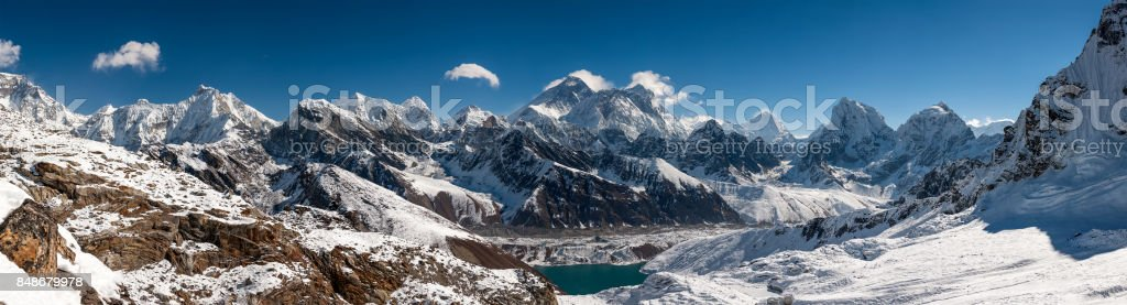 Panorama of the Khumbu valley in Nepal wity Everest and Makalu stock photo