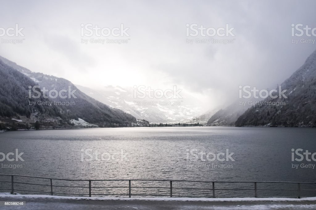 panorama of the lake taken from the Rhaetian Railway stock photo