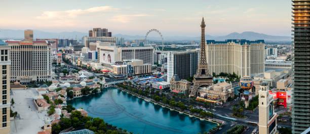Panorama of the Las Vegas Boulevard stock photo