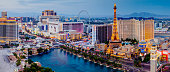Panorama of the Las Vegas Strip (Las Vegas Boulevard) just after sunset on the 12th August 2018 in Las Vegas, Nevada, USA