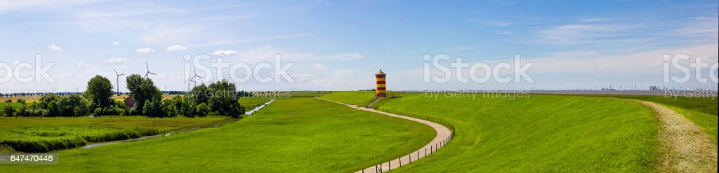 Panorama of the lighthouse Pilsum stock photo