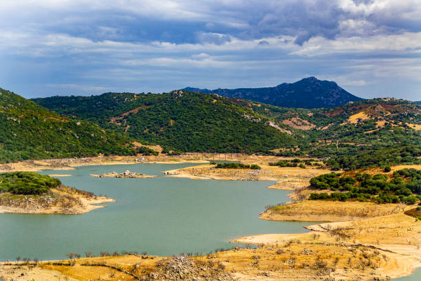 Panorama of the Liscia Lake (Sassari, Sardinia, Italy). stock photo